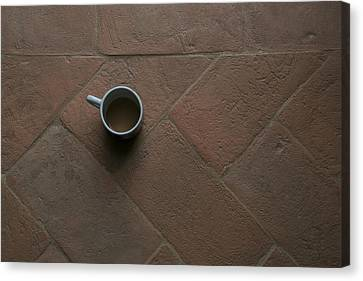 A Cup Of Coffee Sits On A Tuscan Villa Canvas Print by Heather Perry