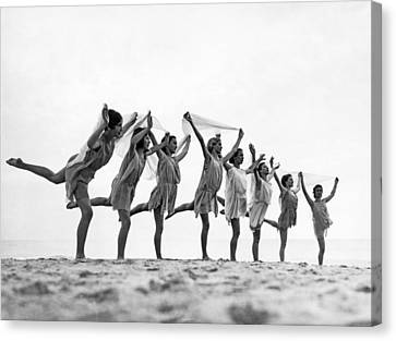 Medium Group Of People Canvas Print - A Dance To The Morning Sun by Underwood Archives