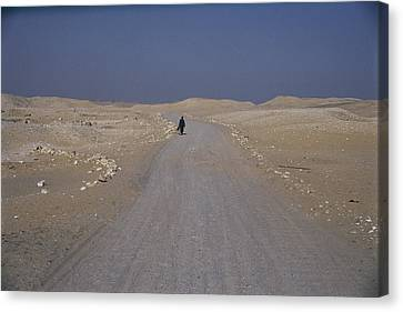 A Dark-robed Egyptian Walks Alone Canvas Print by Stephen St. John