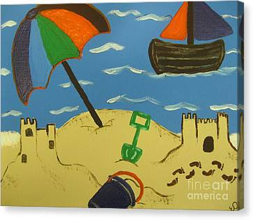 A Day At The Beach Canvas Print by Eva  Dunham