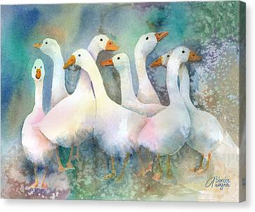 A Disorderly Group Of Geese Canvas Print by Arline Wagner