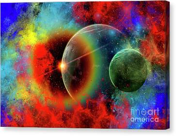 A Distant Alien World And Its Moon Canvas Print