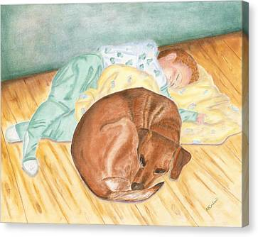 A Dog And Her Boy Canvas Print by Arlene Crafton