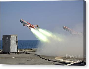 A Drone Is Launched From The Amphibious Canvas Print by Stocktrek Images