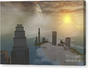 Port Town Canvas Print - A Fantasy Science Fiction World by Corey Ford