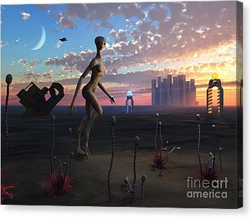 A Female Reptoid Being Takes An Evening Canvas Print by Mark Stevenson