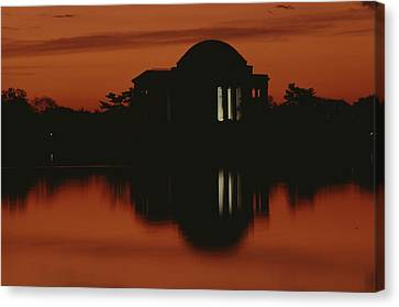 A Fiery Sunset Surrounds The Jefferson Canvas Print by Karen Kasmauski