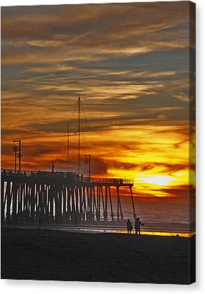 Canvas Print featuring the photograph A Firey Sunset- Pismo Beach by Gary Brandes