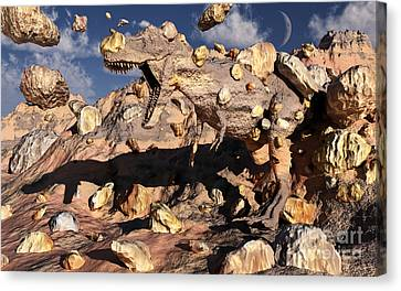A Fossilized T. Rex Bursts To Life Canvas Print