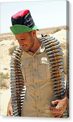 A Free Libyan Army Soldier With An Canvas Print by Andrew Chittock