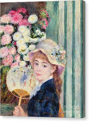 A French Girl With A Fan Canvas Print by Pierre Auguste Renoir