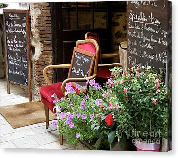A French Restaurant Greeting Canvas Print by Lainie Wrightson