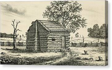 A Frontier Presbyterian Church. The Log Canvas Print by Everett