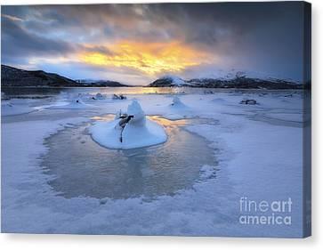 A Frozen Fjord That Is Part Canvas Print