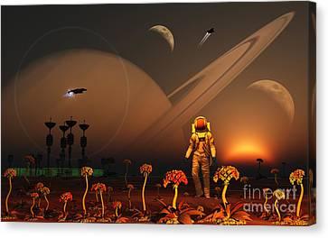 A Futuristic Outpost On The Moon Canvas Print by Mark Stevenson