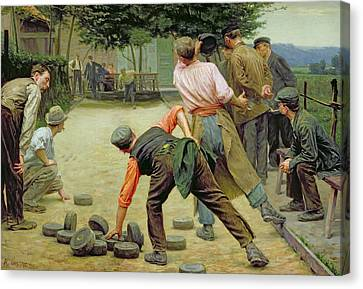 A Game Of Bourles In Flanders Canvas Print by Remy Cogghe