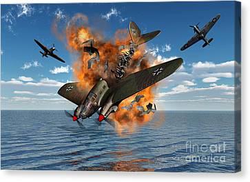 A German Heinkel Bomber Crashes Canvas Print by Mark Stevenson