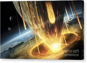 A Giant Asteroid Collides Canvas Print by Tobias Roetsch