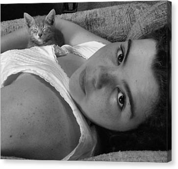 A Girl And Her Kitten Canvas Print by Juliana  Blessington