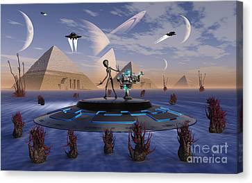 A Grey Alien Visits The Site Of Three Canvas Print by Mark Stevenson