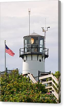 A Hawk Sits Next To Weather Instruments On Top Of Chatham Lighth Canvas Print