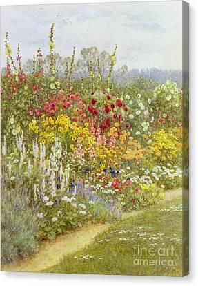 Hollyhock Canvas Print - A Herbaceous Border by Helen Allingham