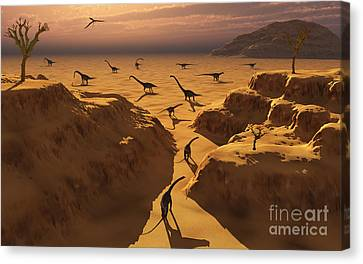 A Herd Of Omeisaurus Dinosaurs Migrate Canvas Print by Mark Stevenson