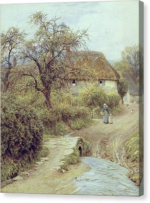 A Hill Farm Symondsbury Dorset Canvas Print by Helen Allingham