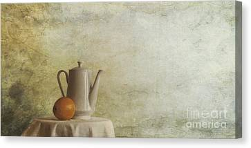 Table Canvas Print - A Jugful Tea And A Orange by Priska Wettstein