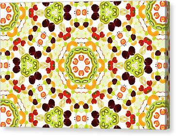 A Kaleidoscope Image Of Fresh Fruit Canvas Print by Andrew Bret Wallis
