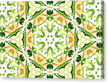 A Kaleidoscope Image Of Fresh Vegetables Canvas Print by Andrew Bret Wallis