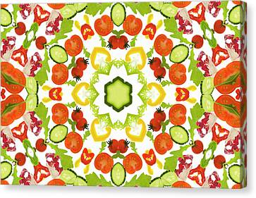 A Kaleidoscope Image Of Salad Vegetables Canvas Print by Andrew Bret Wallis