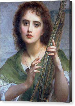 A Lady With Lyre Canvas Print by Charles Edward Halle