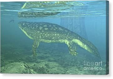 A Late Devonian Period Ichthyostega Canvas Print by Walter Myers
