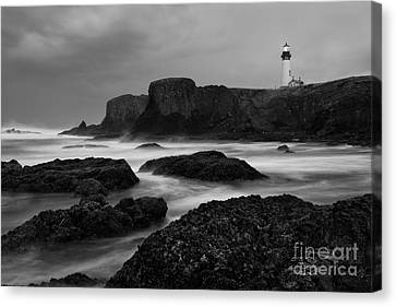 Silk Water Canvas Print - A Light In The Storm by Keith Kapple