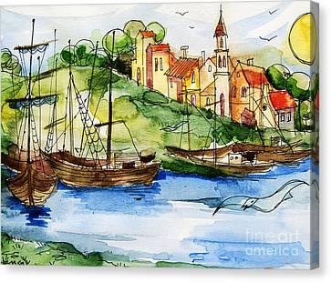 Mona Edulescu Canvas Print - A Little Fisherman's Village by Mona Edulesco