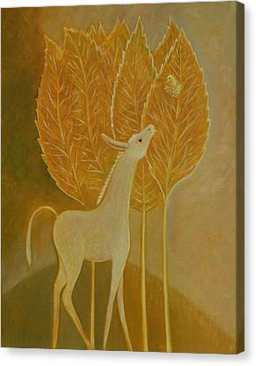 Canvas Print featuring the painting A Little Golden Song by Tone Aanderaa