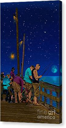 A Little Night Fishing At The Rodanthe Pier Canvas Print by Anne Kitzman