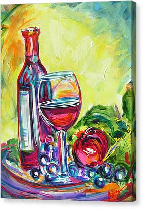 Long Stem Wine Glass Canvas Print - A Little Tipsy by Judy  Rogan