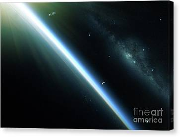 A Lone Satellite Drifts Silently Canvas Print by Kevin Lafin