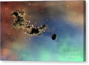 A Lonely Planet Is Lit By Two Stars Canvas Print by Brian Christensen