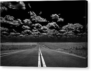 A Long Dark Road Canvas Print by Bill Tiepelman
