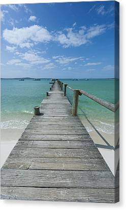 A Long Wooden Jetty At Churchhaven In The West Coast National Park Disappears Into The Turquoise Waters Of The Langebaan Lagoon, Churchhaven, Western Cape, South Africa Canvas Print by Neil Austen