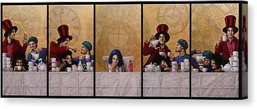 Mad Hatter Canvas Print - A Mad Tea-party From Alice In Wonderland by Jose Luis Munoz Luque