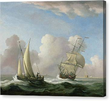 A Man-o'-war In A Swell And A Sailing Boat Canvas Print by Peter Monamy