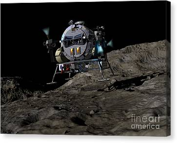 A Manned Asteroid Lander Prepares Canvas Print by Walter Myers