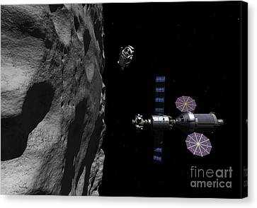 A Manned Maneuvering Vehicle Descends Canvas Print by Walter Myers