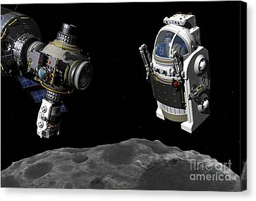A Manned Maneuvering Vehicle Prepares Canvas Print by Walter Myers