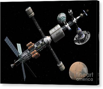 A Manned Mars Cycler Space Station Canvas Print by Walter Myers