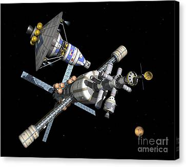 A Manned Mars Landerreturn Vehicle Canvas Print by Walter Myers